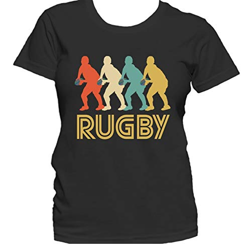 Scrum Half Retro 1970's Style Pop Art Rugby Women's Graphic T-Shirt, Large Black