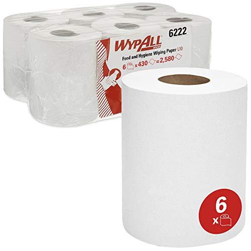 WypAll 6222 Reinigungspapier L10, für Spender, 1-lagig, Weiß, 6 Rollen x 430 Blatt