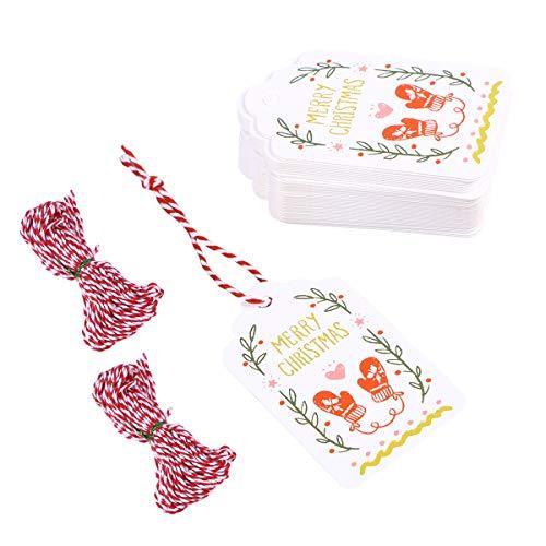 Amosfun 102 stücke gemalt hängen Tags mit 10 mt Gewinde Seil DIY hängen Tags Handschuhe Muster Papier hängen Ornament für DIY Handwerk Hause Weihnachten (100 stücke Tags, 2 10 mt Gewinde)