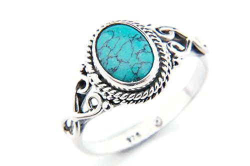 Ring Silber 925 Sterlingsilber Türkis blau grün Stein (Nr: MRI 42), Ringgröße:50 mm/Ø 15.9 mm