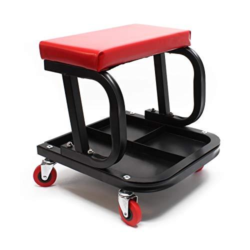 Werkstatthocker Montagehocker Werkstattwagen Werkstattsitz fahrbar mit Werkzeugablage