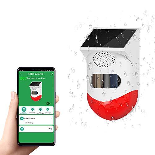 Yueyang Outdoor Solar Security Alarm Sensor de Movimiento WiFi Pir Sistema de Alarma Luz Sirena de Seguridad Inalámbrico Mando a Distancia Impermeable para Hogar