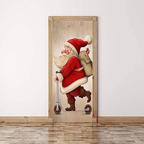 UFHFPF 3D Türaufkleber Pvc Wasserdichte Selbstklebe Abnehmbare Aufkleber 77X200Cm Roller Santa Poster Fototapete Wohnzimmer Schlafzimmer Bad Türtapete Kunst Wandwandaufkleber