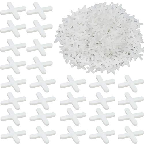 1000 Pezzi Distanziatori per Piastrelle 3mm Scambi a forma di Croce Crocette per Piastrelle, Bianco