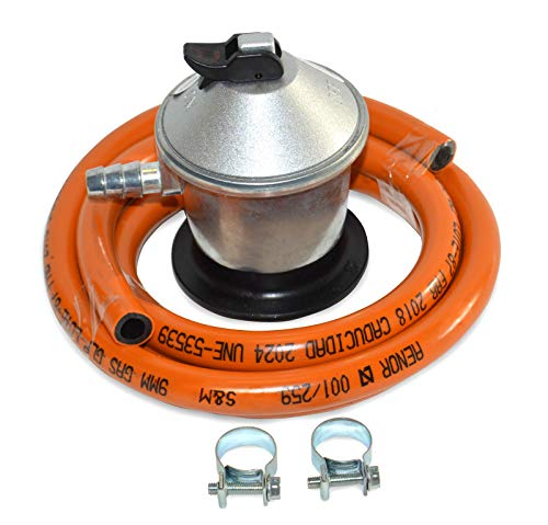 S&M 321771 Regulador de Gas Butano+ Tubo Goma 1,5 M + 2 Abraz, Gris/Naranja