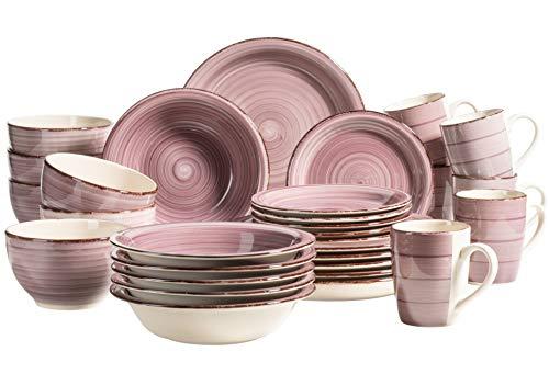 MÄSER 931880 Bel Tempo II, 30-teiliges Vintage Geschirr Set für 6 Personen, handbemaltes Keramik Kombiservice in der Farbe Berry, Steingut