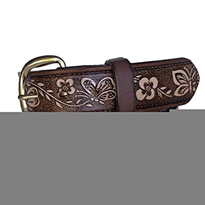 "R.G. BULLCO - USA Made - 1-1/2"" Full Grain Women's Leather Belt with Butterfly Embossed Finish and Chrome Buckle - Brown - Size 34 - RGB-5517"