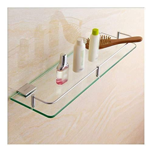 Marco de Vidrio Templado, Soporte de Montaje en Pared de Acero Inoxidable, Estante de baño, Ideal para tocador cosmético, 40 cm,Durable