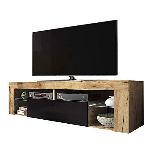 Selsey Bianko - Mueble para TV / mueble para TV en aspecto de madera con solapa y pie de iluminación LED, roble Lancaster / negro brillo intenso, 35 x 140 x 50,5 cm