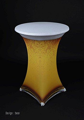 Gastro Uzal Stehtischhusse Stretch Bier Motiv, überwurf 80-85 cm rund, für Event, Gastronomie, Catering und Hochzeit