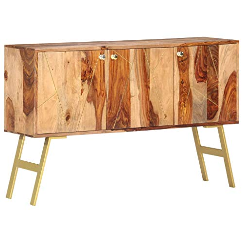 vidaXL Massivholz Sideboard mit 3 Türen Kommode Anrichte Beistellschrank Mehrzweckschrank Standschrank Schrank Palisander 118x30x75cm