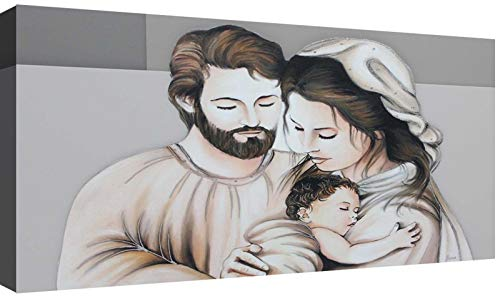canvashop Capezzale Sacra Famiglia 07 cm 100x50 Quadri Moderni Soggiorno Stampa su Tela Camera da Letto