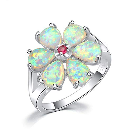 Jewelry 指輪レディースストーンシルバーメッキガーデニアプラントリングファッション婚約ウェディングジュエリー、サイズ:10 (Size : 7)