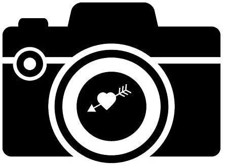CZJMCT-DQ 12.2cm9cm Cámara de diversión con corazón con Flecha Vinil Negro/Plateado Pegatina de Coche de la Motocicleta (Color Nombre: Plata) CZJMCT-DQ (Size : Black)