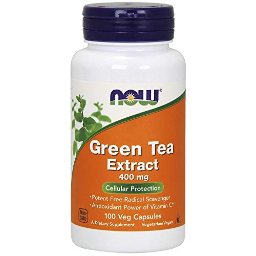 NOW Supplements, Green Tea Extract 400 mg with Vitamin C, Cellular Protection*, 100 Veg Capsules