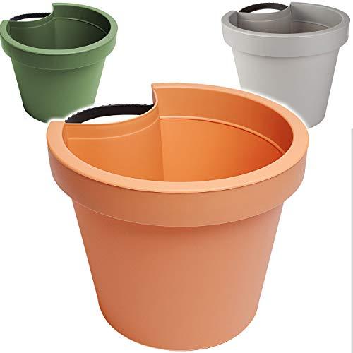 alles-meine.de GmbH 5 Stück _ Rohr & Stangen - Blumenkästen - Farb-Mix / anthrazit - terrakotta - lila - RUND - 24 cm - Regenrohr / Fallrohr - Pflanzgefäß - Geländer / Zaun - Blu..