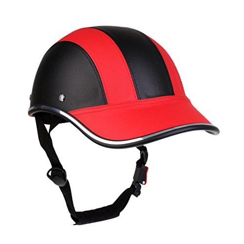 Motorradhelm Sommer Baseball Cap Schutzhelme Tropenhelm Fahrradhelm für Damen Herren - Schwarz Rot