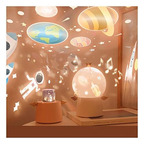 WYZ - Lámpara de noche con proyección LED, 3 colores de rotación de música, los niños duermen tranquilamente, el mejor regalo para los amantes y amigos