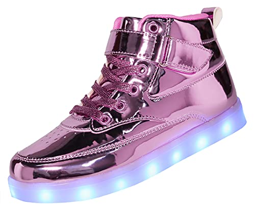 Voovix Kids LED Light Up High-top Shoes Rechargeable Hi-Shine Glowing Sneakers for Boys and Girls Child Unisex(pink01,US11/CN29)