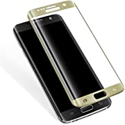 Basesailor Galaxy S7 Edge Tempered Glass Screen Protector, Full Coverage, Anti-Scratch, HD Clear 3D Curved Film for Samsung Galaxy S7 Edge (Not for Galaxy S7) (Gold)