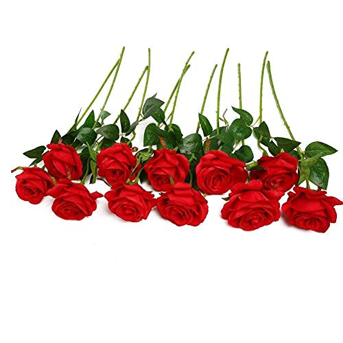 Flor de Seda de Rosa Artificial, Ramo de Novia en Flor para la decoración de la Boda en casa, Planta Falsa de 10 Piezas (Color : Red)