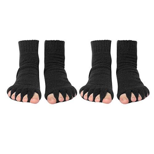 MiOYOOW Zehenspreizer Socken, 2 Paar Toes Socken, Die sanfte Entspannung bei Hallux Valgus und Zehenfehlstellungen
