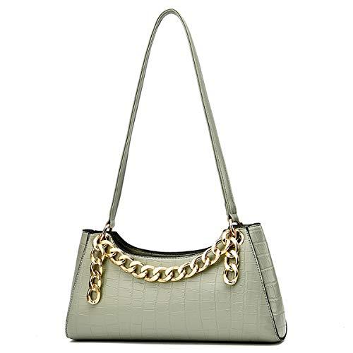 Woman PU Leather Clutch Handbags Chain Shoulder Bag,Retro Pattern Croc Embossed Dinner Bag (Green, 28cm*6cm*14cm)