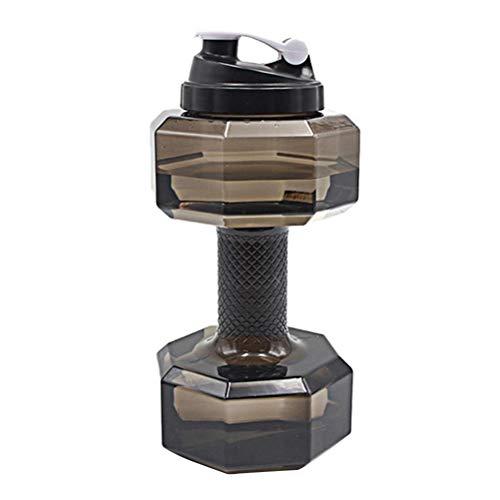 VORCOOL 2,2 L Hantel geformt Sportflasche tragbare Trinkflasche mit hoher Kapazität Sport Wasserflasche für Gym Yoga Laufen im Freien Radfahren (schwarz)