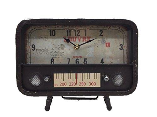 Crispe home & garden Tischuhr Radio, Standuhr, Kaminuhr, Uhr aus Metall 25,5 x 8 x 20 cm