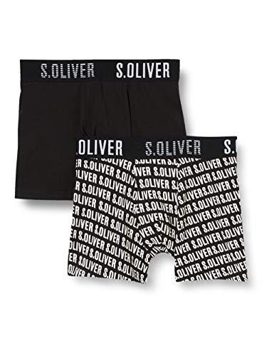 Sanetta Jungen Shorts im Doppelpack Boxershorts, Schwarz (Super Black 10015), (Herstellergröße: 176) (2er Pack)