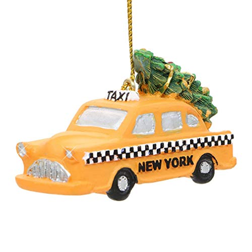 2.75 Inch New York City Yellow Taxi Christmas Ornament with Rockefeller Center Tree on Top