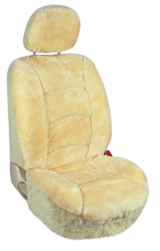 Leader Accessories Sheepskin Car Seat Covers 1pcs Low Back Front Seat Cover Fit for Car,Truck,SUV Champagne