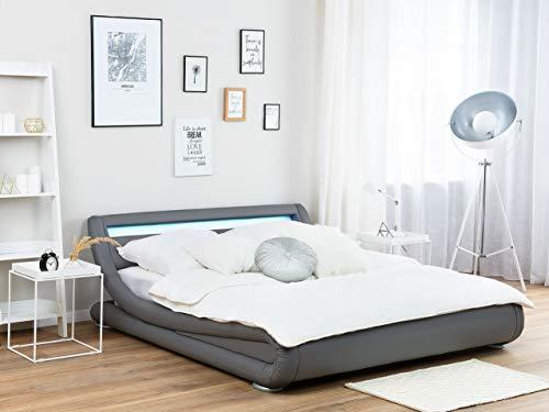 Wasserbett mit LED grau matt Kunstleder 160x200 cm Bettrahmen Avignon