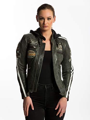 Urban Leather 58 Damen Motorradjacke mit Protektoren, Große Breaker, Größe M