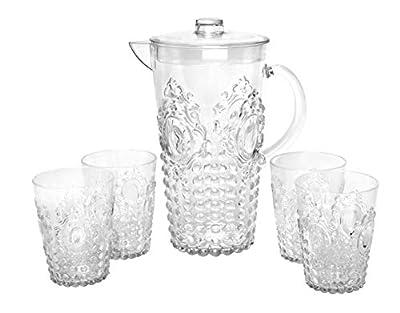 "Break Resistant""Dew Drop"" Clear Plastic Pitcher with Lid and 4 Tumbler Glasses Drinkware Set - Perfect for Iced Tea, Sangria, Lemonade (82 fl oz. pitcher - 14.5 fl oz. glasses)"