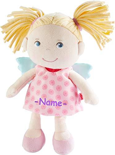 Kinderhaus Blaubär HABA Stoffpuppe Schutzengel mit Namen Bestickt, weiche Baby Puppe, Kuschelpuppe ab 0 Jahr individuelles Taufgeschenk, erste Spielpuppe, Design:Finja