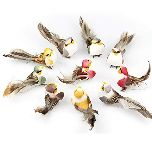 LWINGFLYER 12pcs Artificial Feather Birds Foam Mini Love Birds for Craft Home Ornaments Outdoors Weddings Decoration with Claw 10.5cm/4.13inch