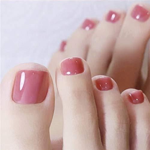 Brishow Falsche Fußnägel Square Acryl Falsche Zehennägel Kurze rosa Glänzende künstliche Fußnägel 24St. für Frauen und Mädchen
