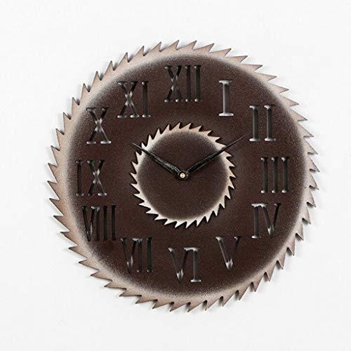 PX Klok-Metaal Nauwkeurige Wandklok - 5 Mm Dikte Driedimensionale Mdf Romeinse tekens/Arabische cijfers + Pointers Oude Vintage Wandklok Imitatie Metalen Gear Industriële Stijl Creatieve Wanddecoratie