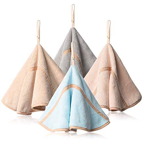 4Pcs Hanging Hand Towels with Hanging Loop Absorbent Round Hand Towels Coral Fleece Bathroom Hand Towels Soft Thick Dish Cloth Hand Dry Towels for Kitchen Bathroom