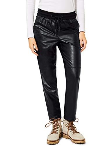 Cecil Damen 373628 Style Chelsea Loose Fit Kunstleder Hose, Black, XXL