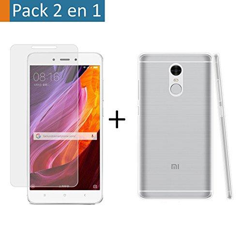 Pack 2 En 1 Funda Gel Transparente + Protector Cristal Templado para Xiaomi Redmi Note 4X / 4 Version Global
