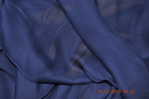Reine Seide Chiffon - 114 cm breit, Marineblau, Meterware
