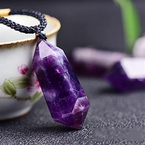 YSJJAXR Colgante de Cristal Natural Moda Natural Amatistas Colgantes y Collares Fached Publy Crystal Energy Stone Necklace Hombres Healing Reiki Joyería Regalos (Metal Color : Amethyst)