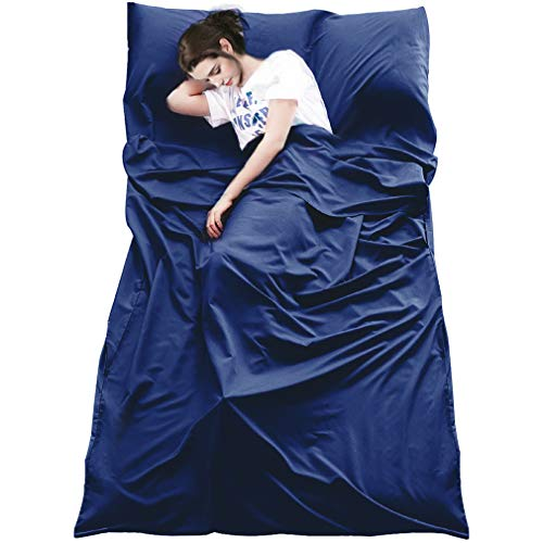 MeiLiMiYu Sleeping Bag Liner, Outdoor Travel Camping Sheet Lightweight Hotel Compact Adult Sleep Bag Sack for Hiking, Picnics, Trains, Planes, Trip (Navy, 82.7 47.2 inches)