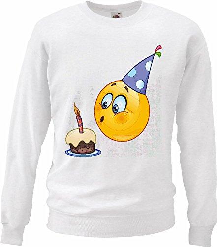 Smileys Smiley sweatshirts voor kinderen zoals verjaardag met pastel en kaars Smileys LOS Smilies Android iPhone Emoticons iOS SA Emoticon Smiley App in wit