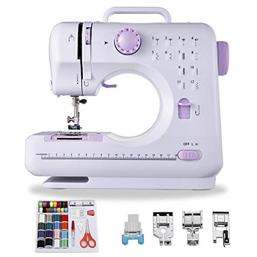 HYEASTR Sewing Machine Electric Household Sewing Machines for Beginners 12 Built-in Stitches 2 Speed with Foot Pedal,Light, Storage Drawer