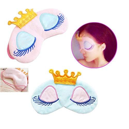 ANNIUP Schlafmaske für Mädchen, niedliche Prinzessinnen-Krone, Schlafmaske für zu Hause, für Reisen, 2 Stück