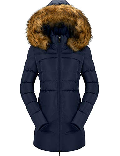 CHERFLY Women's Cotton Winter Coat Thicken Warm Long Jacket with Fur Trimmed Hood (Navy,Large)