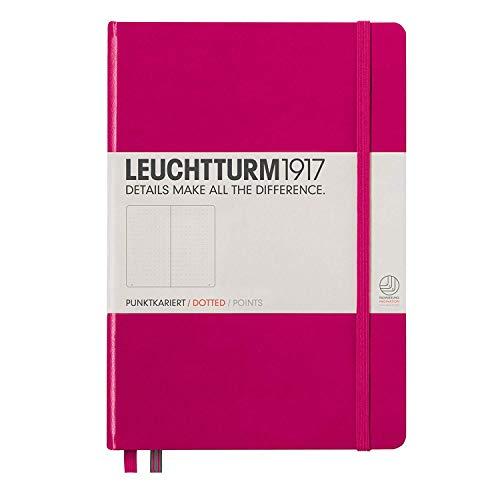 Leuchtturm1917 - Cuaderno (A5, 249 páginas, de puntos, tapa dura, tamaño mediano), color fucsia